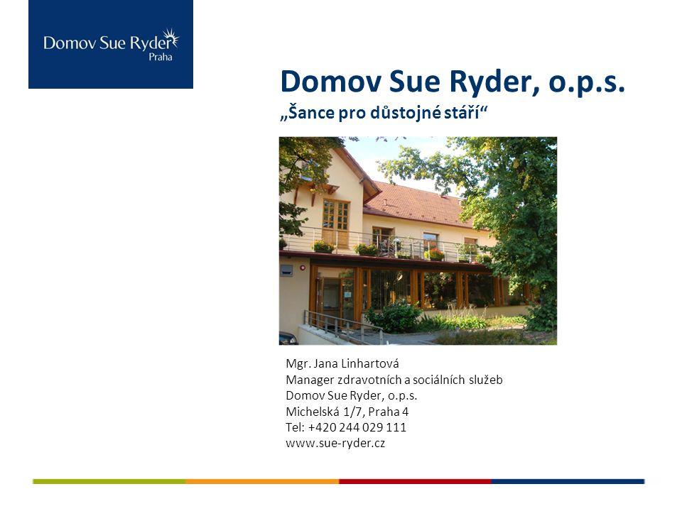 """Domov Sue Ryder, o.p.s. """"Šance pro důstojné stáří"""" Mgr. Jana Linhartová Manager zdravotních a sociálních služeb Domov Sue Ryder, o.p.s. Michelská 1/7,"""