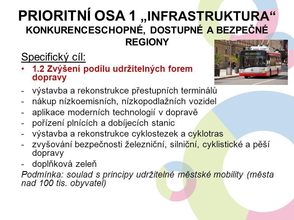 """PRIORITNÍ OSA 1 """"INFRASTRUKTURA"""" KONKURENCESCHOPNÉ, DOSTUPNÉ A BEZPEČNÉ REGIONY Specifický cíl: 1.2 Zvýšení podílu udržitelných forem dopravy -výstavb"""