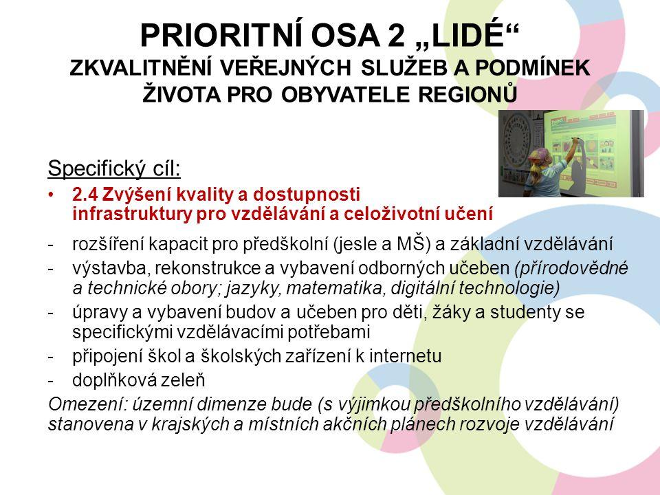 """PRIORITNÍ OSA 2 """"LIDÉ"""" ZKVALITNĚNÍ VEŘEJNÝCH SLUŽEB A PODMÍNEK ŽIVOTA PRO OBYVATELE REGIONŮ Specifický cíl: 2.4 Zvýšení kvality a dostupnosti infrastr"""