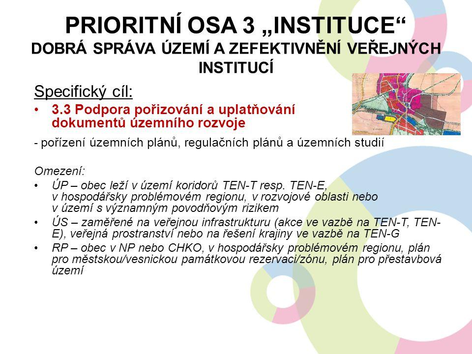 """PRIORITNÍ OSA 3 """"INSTITUCE"""" DOBRÁ SPRÁVA ÚZEMÍ A ZEFEKTIVNĚNÍ VEŘEJNÝCH INSTITUCÍ Specifický cíl: 3.3 Podpora pořizování a uplatňování dokumentů územn"""