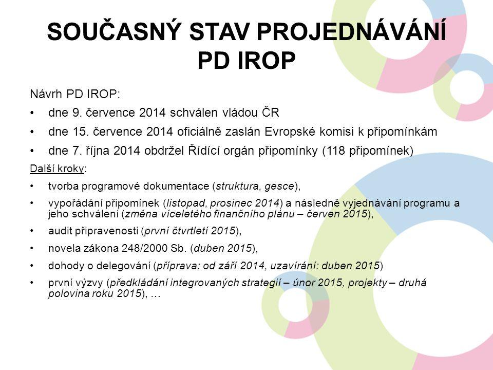 SOUČASNÝ STAV PROJEDNÁVÁNÍ PD IROP Návrh PD IROP: dne 9. července 2014 schválen vládou ČR dne 15. července 2014 oficiálně zaslán Evropské komisi k při