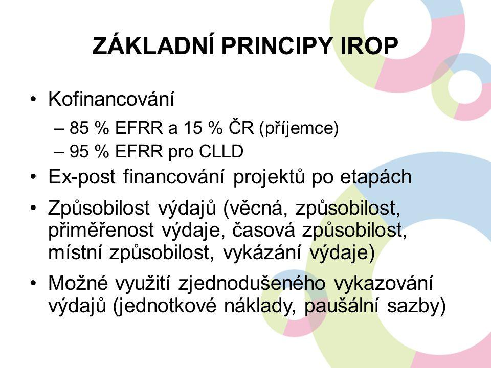 ZÁKLADNÍ PRINCIPY IROP Kofinancování –85 % EFRR a 15 % ČR (příjemce) –95 % EFRR pro CLLD Ex-post financování projektů po etapách Způsobilost výdajů (v