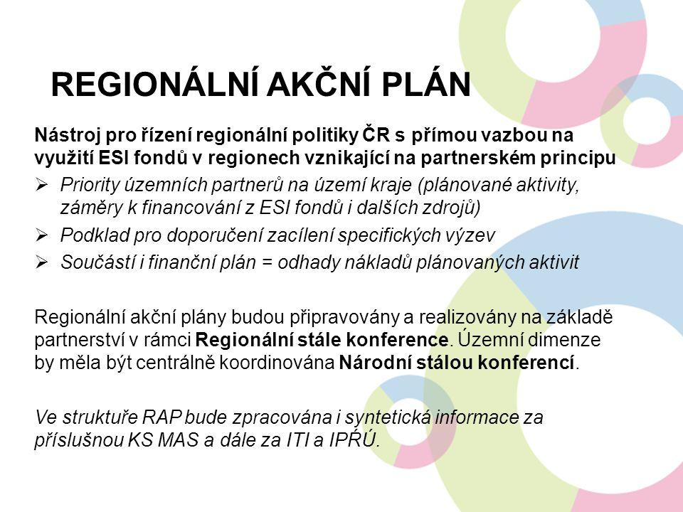 REGIONÁLNÍ AKČNÍ PLÁN Nástroj pro řízení regionální politiky ČR s přímou vazbou na využití ESI fondů v regionech vznikající na partnerském principu 