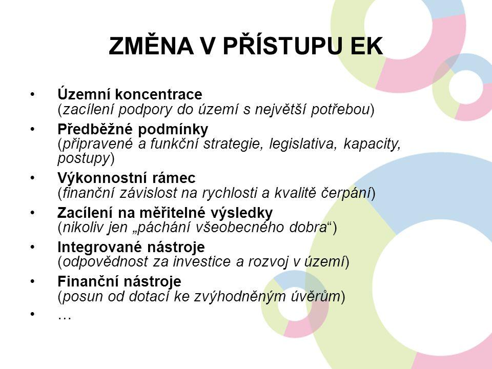 ZMĚNA V PŘÍSTUPU EK Územní koncentrace (zacílení podpory do území s největší potřebou) Předběžné podmínky (připravené a funkční strategie, legislativa