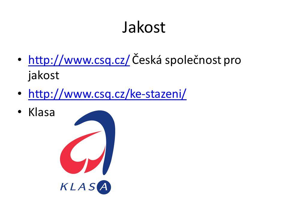 Jakost http://www.csq.cz/ Česká společnost pro jakost http://www.csq.cz/ http://www.csq.cz/ke-stazeni/ Klasa