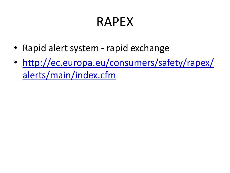 RAPEX Rapid alert system - rapid exchange http://ec.europa.eu/consumers/safety/rapex/ alerts/main/index.cfm http://ec.europa.eu/consumers/safety/rapex