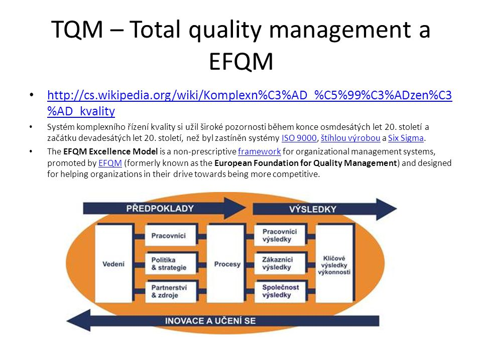 TQM – Total quality management a EFQM http://cs.wikipedia.org/wiki/Komplexn%C3%AD_%C5%99%C3%ADzen%C3 %AD_kvality http://cs.wikipedia.org/wiki/Komplexn