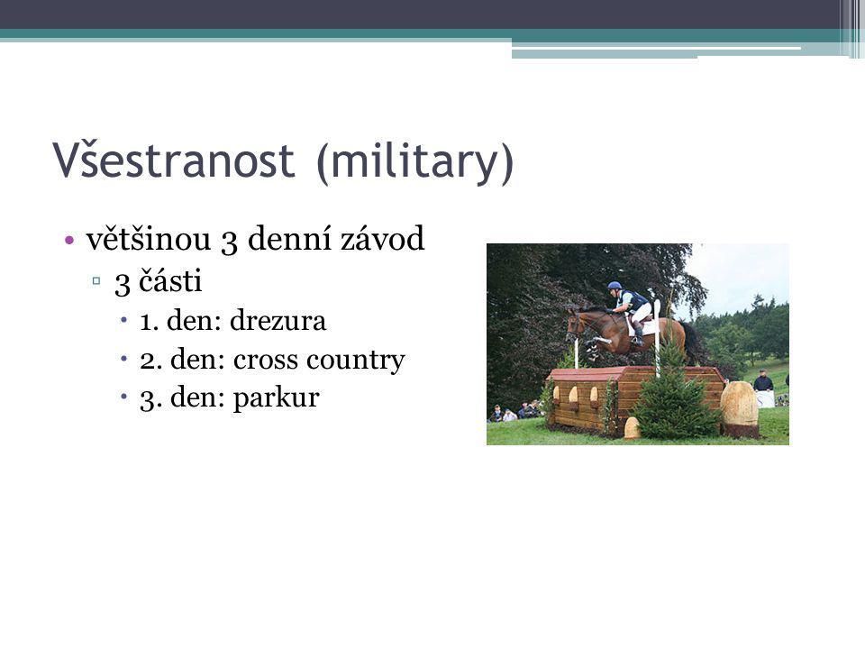 Všestranost (military) většinou 3 denní závod ▫3 části  1. den: drezura  2. den: cross country  3. den: parkur