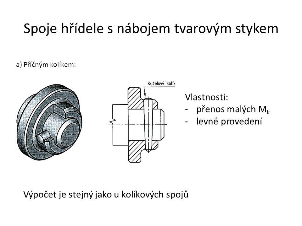 Spoje hřídele s nábojem tvarovým stykem a) Příčným kolíkem: Vlastnosti: -přenos malých M k -levné provedení Výpočet je stejný jako u kolíkových spojů