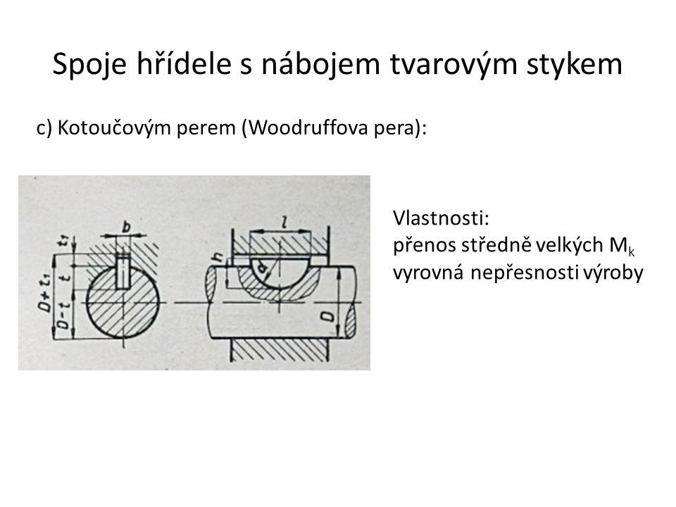 Spoje hřídele s nábojem tvarovým stykem c) Kotoučovým perem (Woodruffova pera): Vlastnosti: přenos středně velkých M k vyrovná nepřesnosti výroby