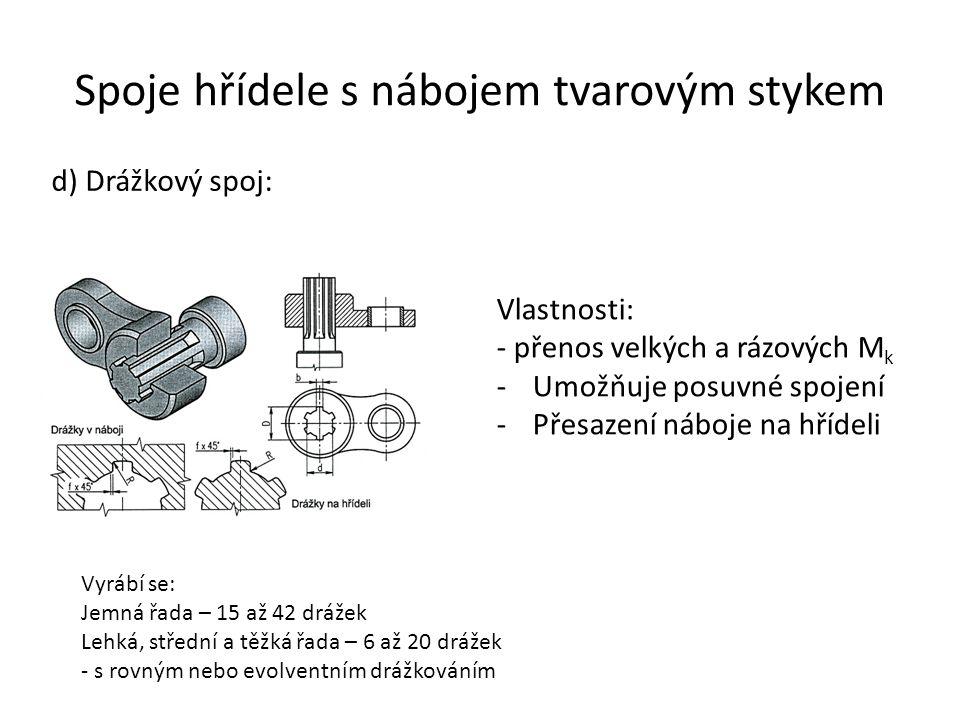 Spoje hřídele s nábojem tvarovým stykem d) Drážkový spoj: Vlastnosti: - přenos velkých a rázových M k -Umožňuje posuvné spojení -Přesazení náboje na h