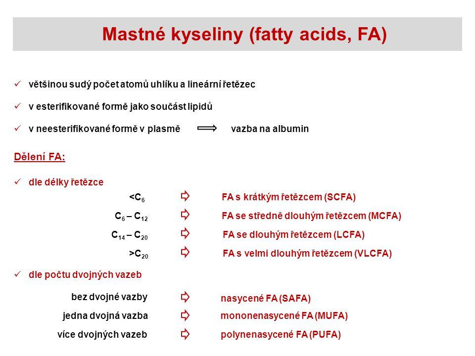 Mastné kyseliny (fatty acids, FA) většinou sudý počet atomů uhlíku a lineární řetězec v esterifikované formě jako součást lipidů v neesterifikované formě v plasměvazba na albumin Dělení FA: dle počtu dvojných vazeb bez dvojné vazby jedna dvojná vazba více dvojných vazeb nasycené FA (SAFA) mononenasycené FA (MUFA) polynenasycené FA (PUFA) dle délky řetězce <C 6 C 6 – C 12 C 14 – C 20 >C 20 FA s krátkým řetězcem (SCFA) FA se středně dlouhým řetězcem (MCFA) FA se dlouhým řetězcem (LCFA) FA s velmi dlouhým řetězcem (VLCFA)