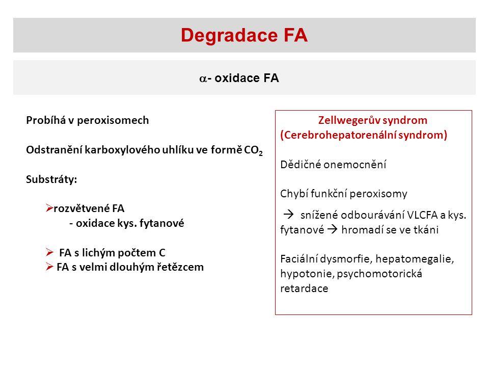 Degradace FA  - oxidace FA Probíhá v peroxisomech Odstranění karboxylového uhlíku ve formě CO 2 Substráty:  rozvětvené FA - oxidace kys.