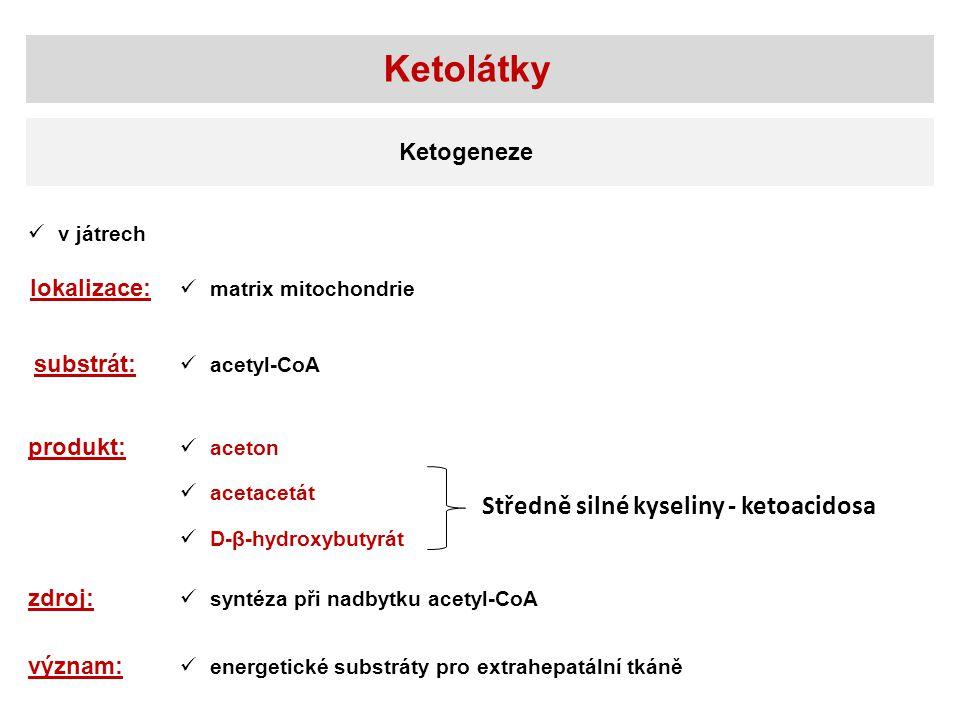 v játrech lokalizace: matrix mitochondrie substrát: acetyl-CoA produkt: aceton acetacetát Ketolátky Ketogeneze D-β-hydroxybutyrát zdroj: syntéza při nadbytku acetyl-CoA význam: energetické substráty pro extrahepatální tkáně Středně silné kyseliny - ketoacidosa