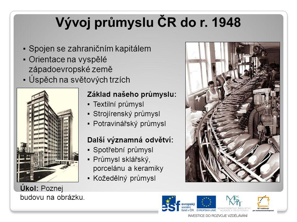 Vývoj průmyslu ČR 1948-1989 ▪Znárodnění, centrální řízení ▪Zanedbání vědeckotechnického rozvoje ▪Ztráta konkurovat na světových trzích ▪Vývoz na méně náročné trhy (země východní Evropy) Základ našeho průmyslu: ▪Rozvoj těžkého průmyslu (hutnictví železa a oceli, těžkého strojírenství) Zvyšování dovozu rud a surovin ▪Zvyšování těžby uhlí, spotřeby energie ▪Devastace životního prostředí ▪Zaostávání ostatních odvětví Elektrárna Prunéřov Nová huť v Ostravě