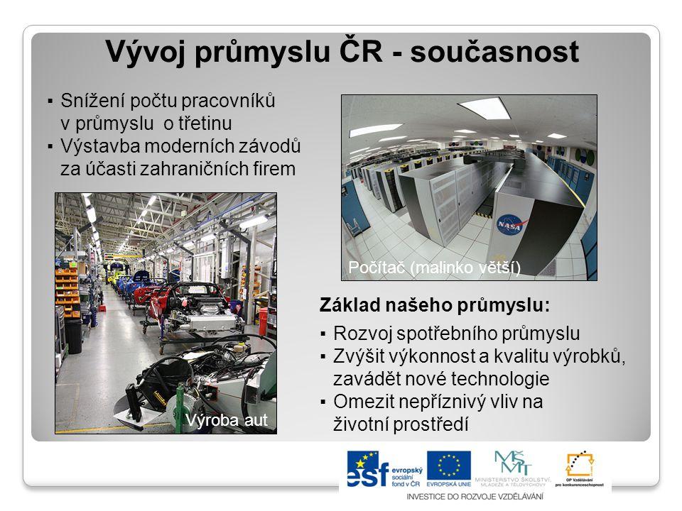 Vývoj průmyslu ČR po roce 1989 Vývoj průmyslové produkce v Česku (vždy oproti lednu předchozího roku) 20032004200520062007200820092010 +6,4 %+3,8 %+7,2 %+15,1 %+9,8 %+9,3 %-23,3 %+5,3 % Zdroj: www.regionalnirozvoj.cz