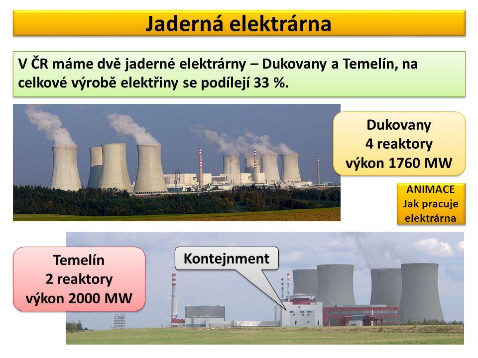Jaderná elektrárna V ČR máme dvě jaderné elektrárny – Dukovany a Temelín, na celkové výrobě elektřiny se podílejí 33 %. Dukovany 4 reaktory výkon 1760