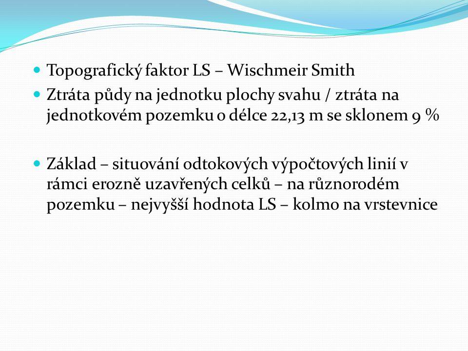 Topografický faktor LS – Wischmeir Smith Ztráta půdy na jednotku plochy svahu / ztráta na jednotkovém pozemku o délce 22,13 m se sklonem 9 % Základ –