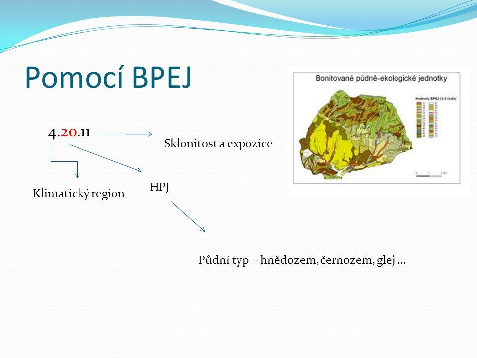 Pomocí BPEJ Klimatický region HPJ Sklonitost a expozice 4.20.11 Půdní typ – hnědozem, černozem, glej …