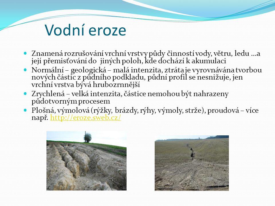 Vodní eroze Znamená rozrušování vrchní vrstvy půdy činností vody, větru, ledu …a její přemisťování do jiných poloh, kde dochází k akumulaci Normální –