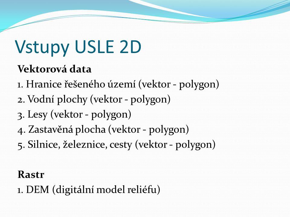 Vstupy USLE 2D Vektorová data 1. Hranice řešeného území (vektor - polygon) 2. Vodní plochy (vektor - polygon) 3. Lesy (vektor - polygon) 4. Zastavěná