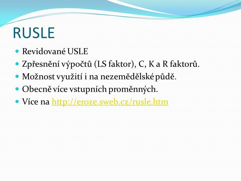 RUSLE Revidované USLE Zpřesnění výpočtů (LS faktor), C, K a R faktorů. Možnost využití i na nezemědělské půdě. Obecně více vstupních proměnných. Více