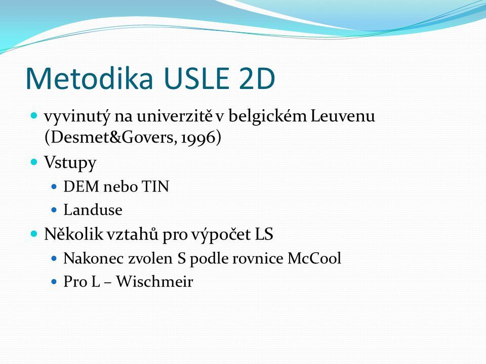 Metodika USLE 2D vyvinutý na univerzitě v belgickém Leuvenu (Desmet&Govers, 1996) Vstupy DEM nebo TIN Landuse Několik vztahů pro výpočet LS Nakonec zv