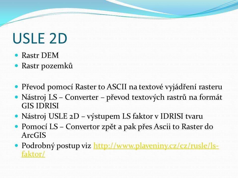 USLE 2D Rastr DEM Rastr pozemků Převod pomocí Raster to ASCII na textové vyjádření rasteru Nástroj LS – Converter – převod textových rastrů na formát