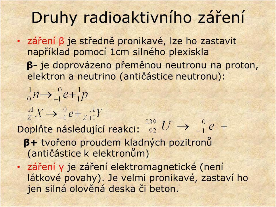 Druhy radioaktivního záření záření β je středně pronikavé, lze ho zastavit například pomocí 1cm silného plexiskla β- je doprovázeno přeměnou neutronu