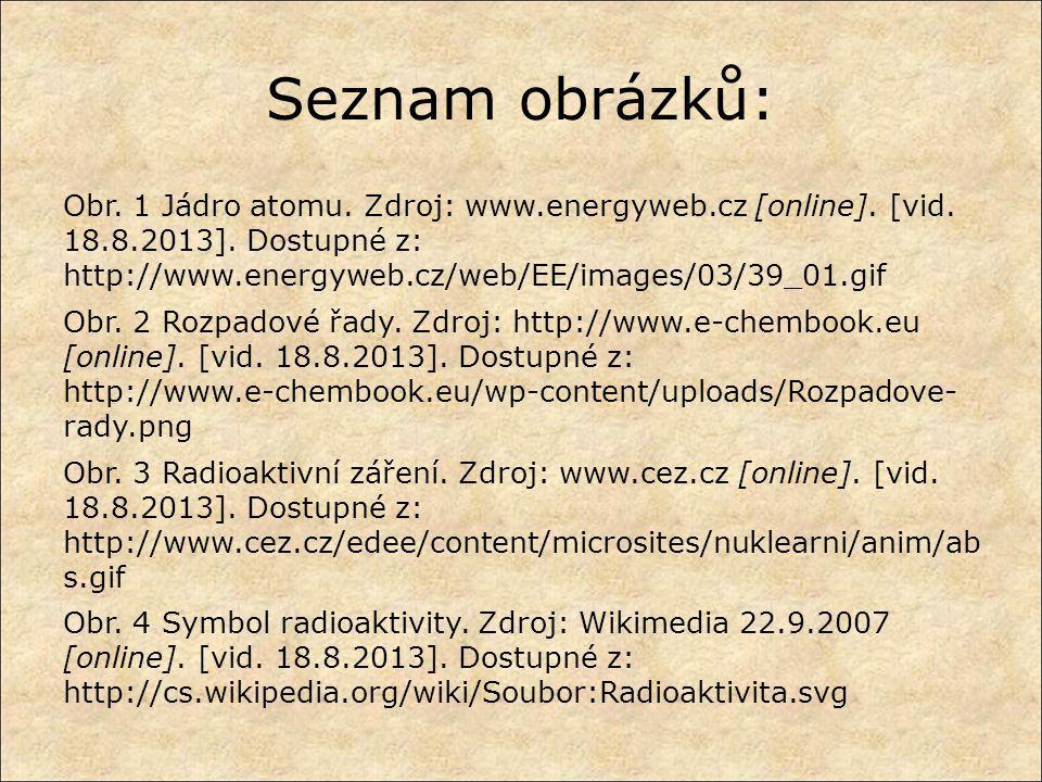 Seznam obrázků: Obr. 1 Jádro atomu. Zdroj: www.energyweb.cz [online]. [vid. 18.8.2013]. Dostupné z: http://www.energyweb.cz/web/EE/images/03/39_01.gif