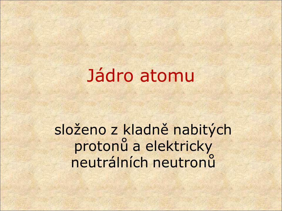Jádro atomu složeno z kladně nabitých protonů a elektricky neutrálních neutronů