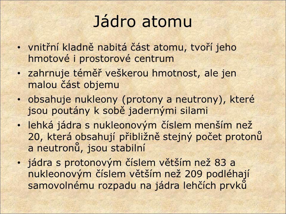 Jádro atomu vnitřní kladně nabitá část atomu, tvoří jeho hmotové i prostorové centrum zahrnuje téměř veškerou hmotnost, ale jen malou část objemu obsa