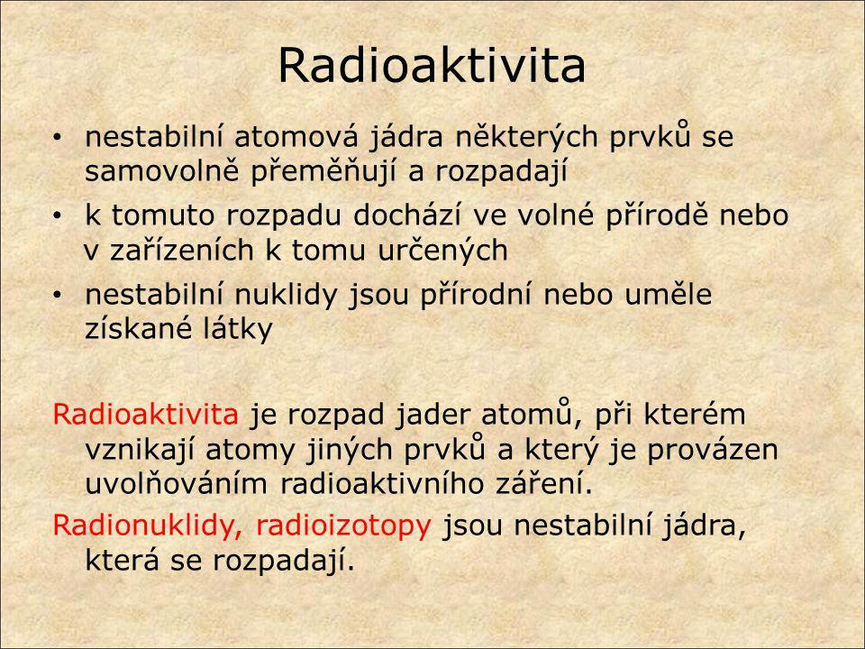 Radioaktivita nestabilní atomová jádra některých prvků se samovolně přeměňují a rozpadají k tomuto rozpadu dochází ve volné přírodě nebo v zařízeních