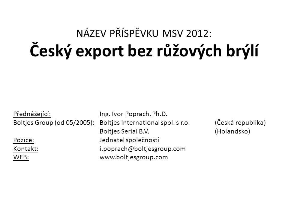 NÁZEV PŘÍSPĚVKU MSV 2012: Český export bez růžových brýlí Přednášející:Ing. Ivor Poprach, Ph.D. Boltjes Group (od 05/2005):Boltjes International spol.