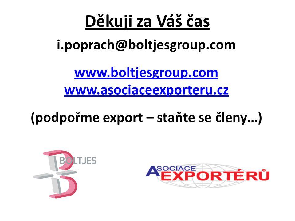Děkuji za Váš čas i.poprach@boltjesgroup.com www.boltjesgroup.com www.asociaceexporteru.cz (podpořme export – staňte se členy…)