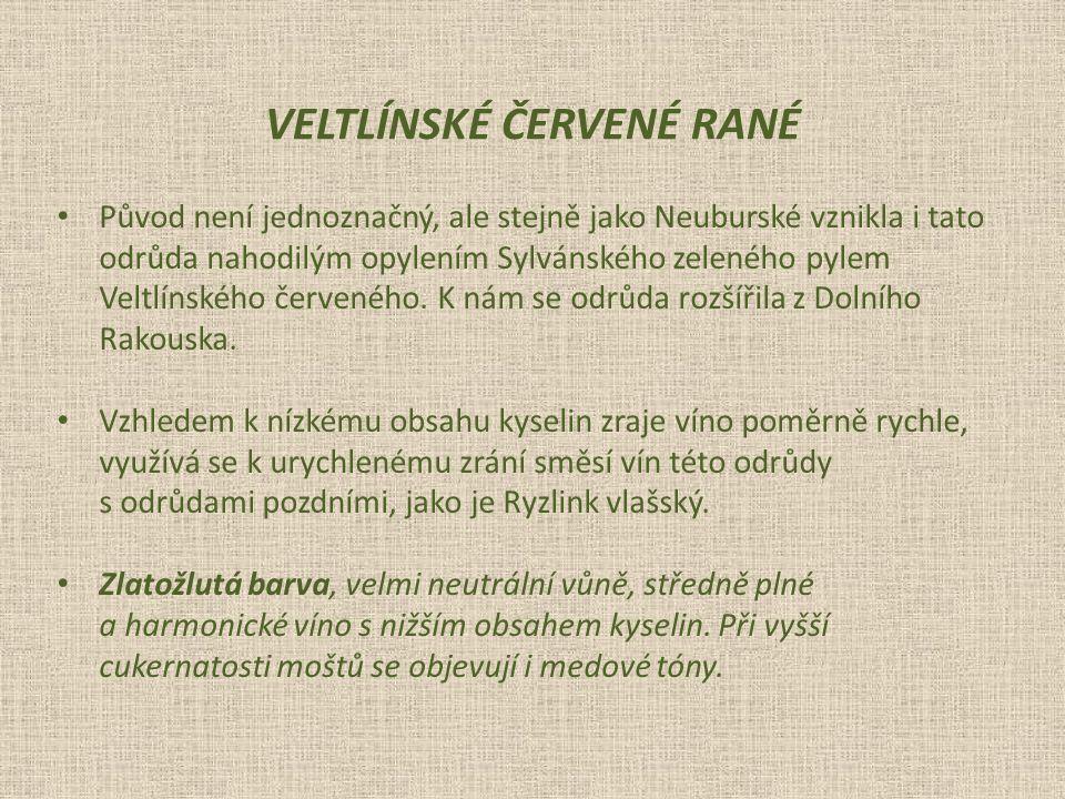 Původ není jednoznačný, ale stejně jako Neuburské vznikla i tato odrůda nahodilým opylením Sylvánského zeleného pylem Veltlínského červeného.