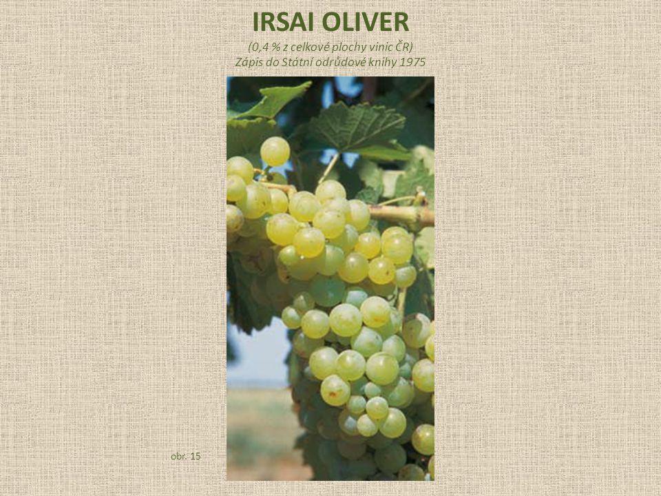 (0,4 % z celkové plochy vinic ČR) Zápis do Státní odrůdové knihy 1975 obr. 15