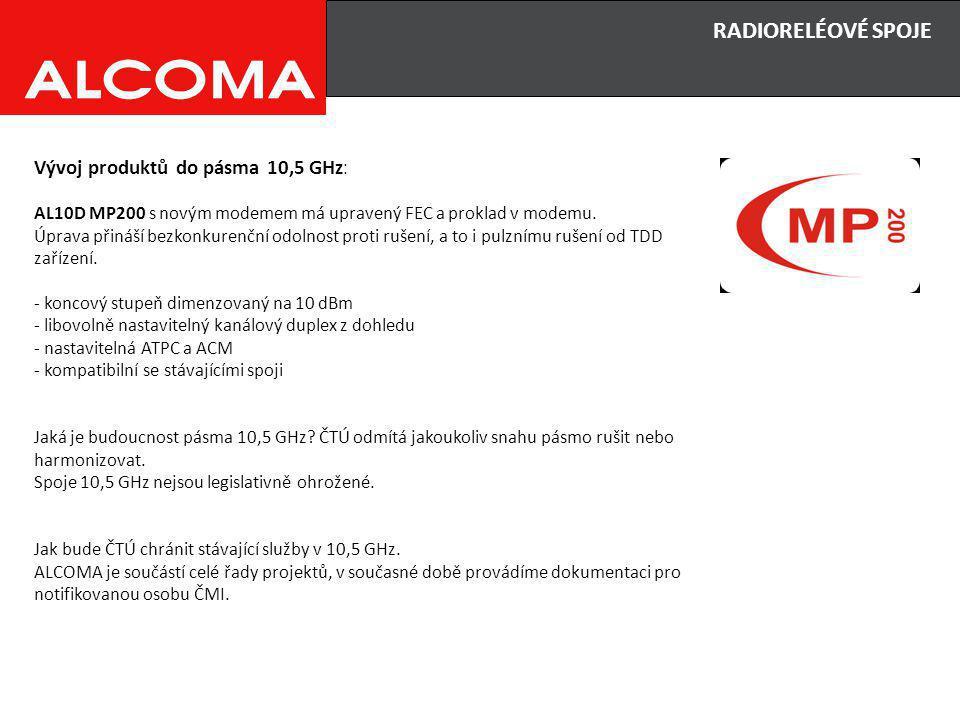 RADIORELÉOVÉ SPOJE Vývoj produktů do pásma 10,5 GHz : AL10D MP200 s novým modemem má upravený FEC a proklad v modemu.