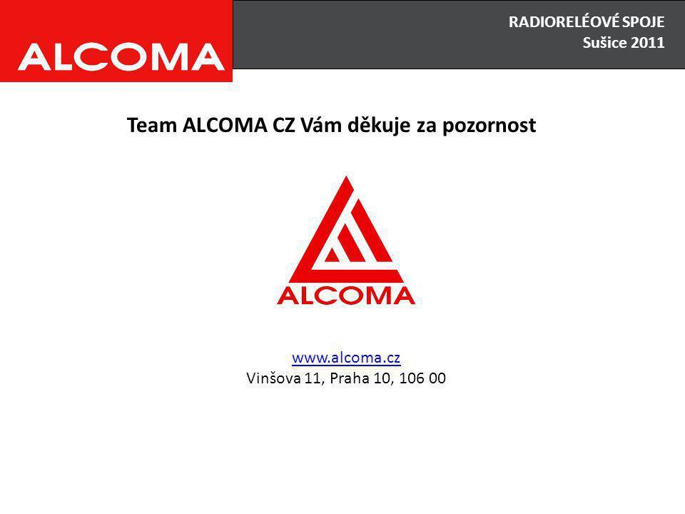 RADIORELÉOVÉ SPOJE Sušice 2011 Team ALCOMA CZ Vám děkuje za pozornost www.alcoma.cz Vinšova 11, Praha 10, 106 00