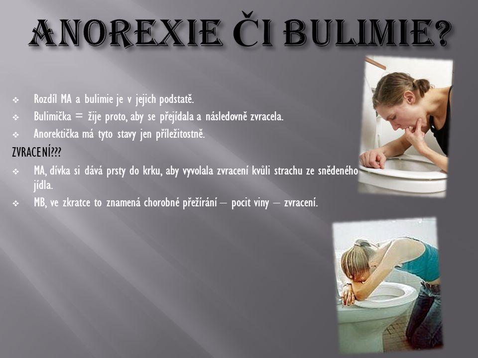  Rozdíl MA a bulimie je v jejich podstatě.  Bulimička = žije proto, aby se přejídala a následovně zvracela.  Anorektička má tyto stavy jen příležit