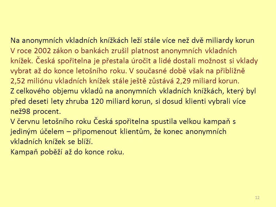 Na anonymních vkladních knížkách leží stále více než dvě miliardy korun V roce 2002 zákon o bankách zrušil platnost anonymních vkladních knížek. Česká