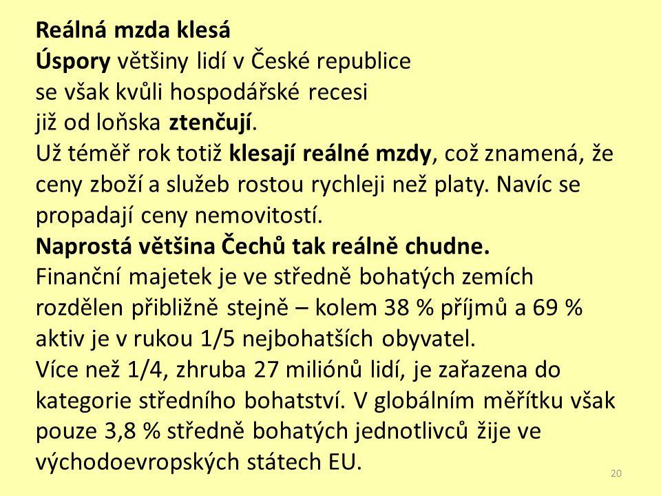 Reálná mzda klesá Úspory většiny lidí v České republice se však kvůli hospodářské recesi již od loňska ztenčují. Už téměř rok totiž klesají reálné mzd