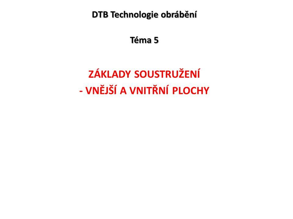 DTB Technologie obrábění Téma 5 ZÁKLADY SOUSTRUŽENÍ - VNĚJŠÍ A VNITŘNÍ PLOCHY