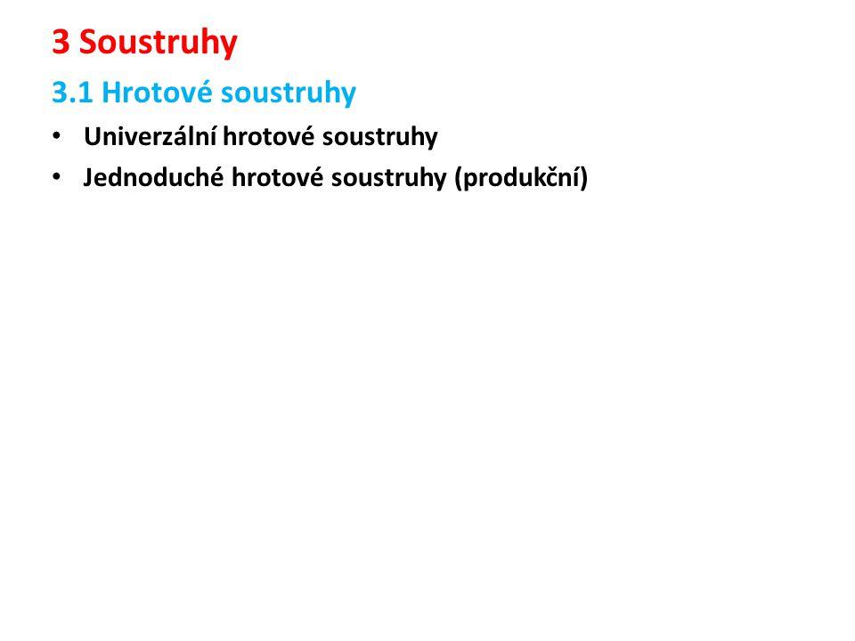 3 Soustruhy 3.1 Hrotové soustruhy Univerzální hrotové soustruhy Jednoduché hrotové soustruhy (produkční)
