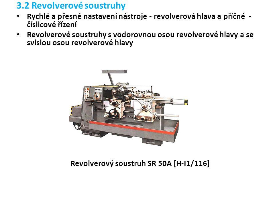 3.2 Revolverové soustruhy Rychlé a přesné nastavení nástroje - revolverová hlava a příčné - číslicové řízení Revolverové soustruhy s vodorovnou osou r