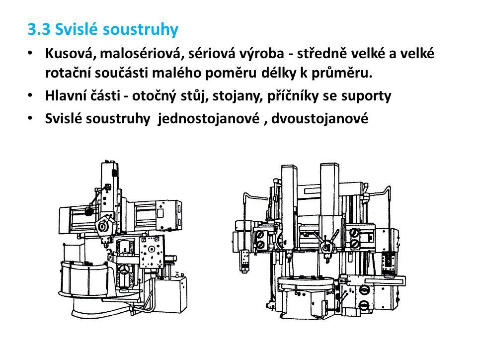 3.3 Svislé soustruhy Kusová, malosériová, sériová výroba - středně velké a velké rotační součásti malého poměru délky k průměru. Hlavní části - otočný