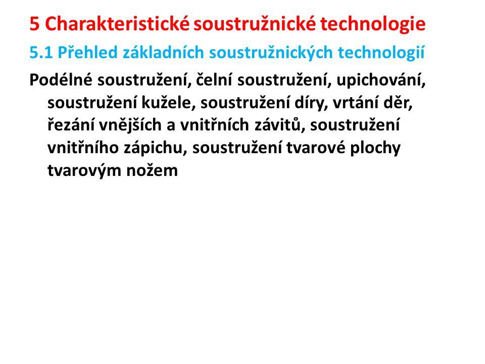 5 Charakteristické soustružnické technologie 5.1 Přehled základních soustružnických technologií Podélné soustružení, čelní soustružení, upichování, so