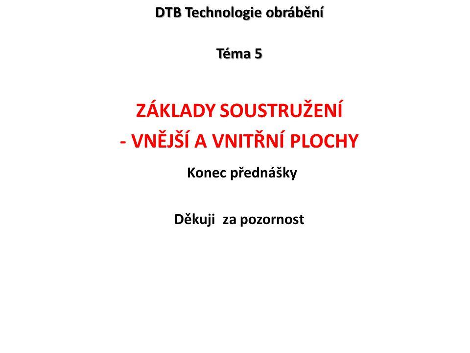 DTB Technologie obrábění Téma 5 ZÁKLADY SOUSTRUŽENÍ - VNĚJŠÍ A VNITŘNÍ PLOCHY Konec přednášky Děkuji za pozornost