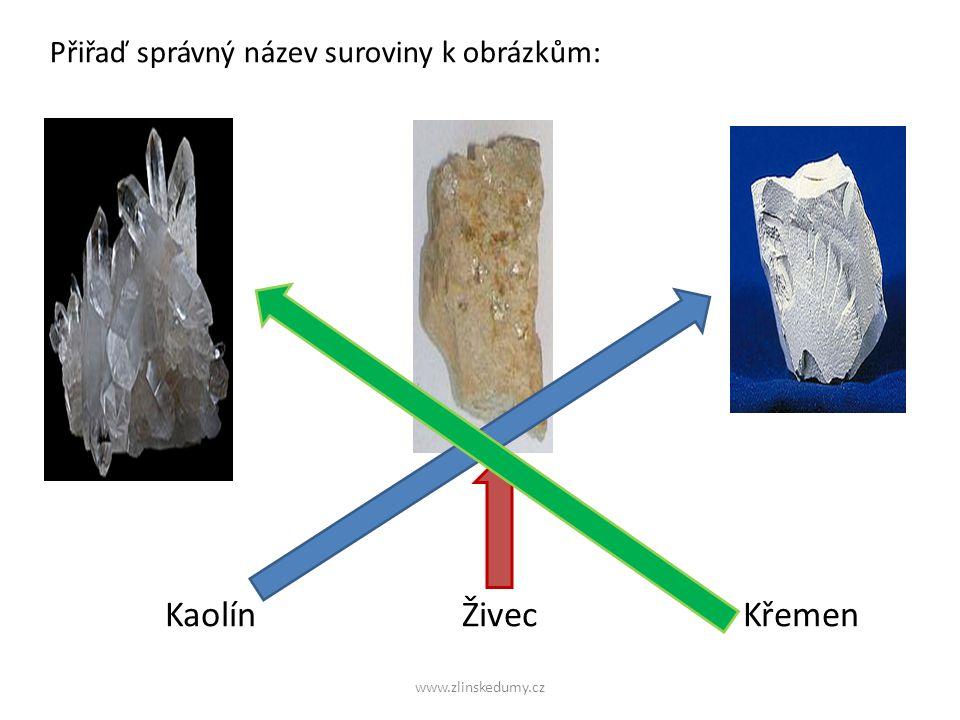 www.zlinskedumy.cz Přiřaď správný název suroviny k obrázkům: Kaolín Živec Křemen