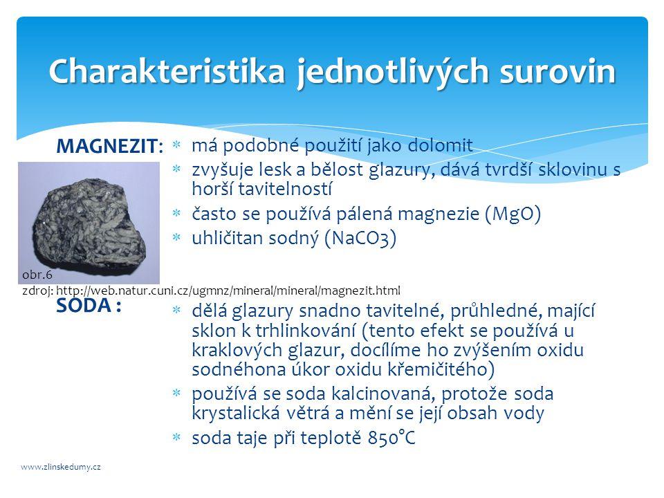 Charakteristika jednotlivých surovin www.zlinskedumy.cz MAGNEZIT: SODA :  má podobné použití jako dolomit  zvyšuje lesk a bělost glazury, dává tvrdší sklovinu s horší tavitelností  často se používá pálená magnezie (MgO)  uhličitan sodný (NaCO3)  dělá glazury snadno tavitelné, průhledné, mající sklon k trhlinkování (tento efekt se používá u kraklových glazur, docílíme ho zvýšením oxidu sodnéhona úkor oxidu křemičitého)  používá se soda kalcinovaná, protože soda krystalická větrá a mění se její obsah vody  soda taje při teplotě 850°C obr.6 zdroj: http://web.natur.cuni.cz/ugmnz/mineral/mineral/magnezit.html
